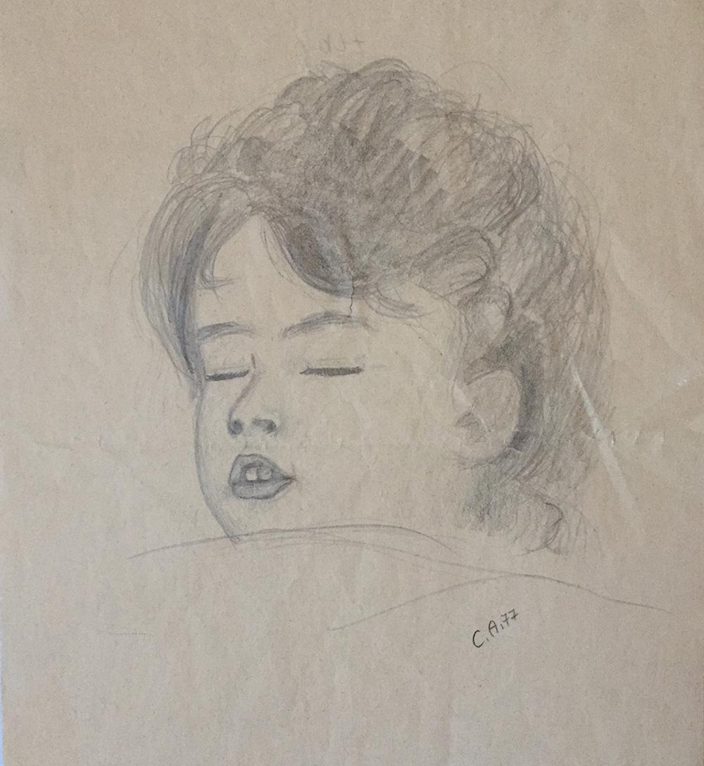 Schlafendes Mädchen, Bleistiftskizze