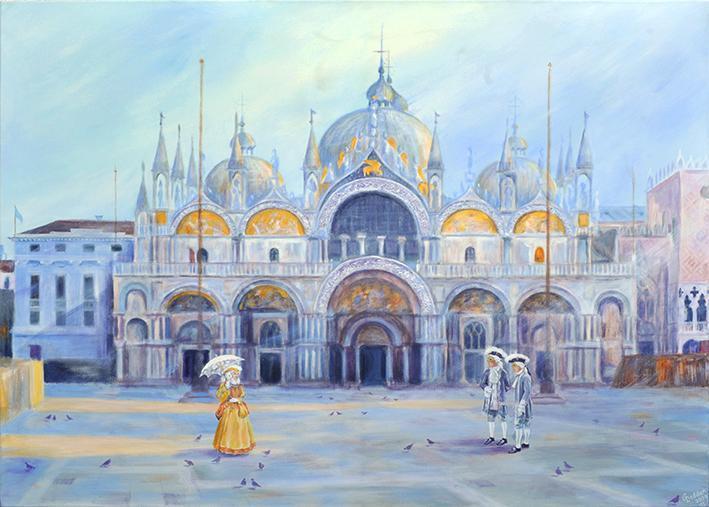 Venedig , Markusdom, Acryl auf Leinwand