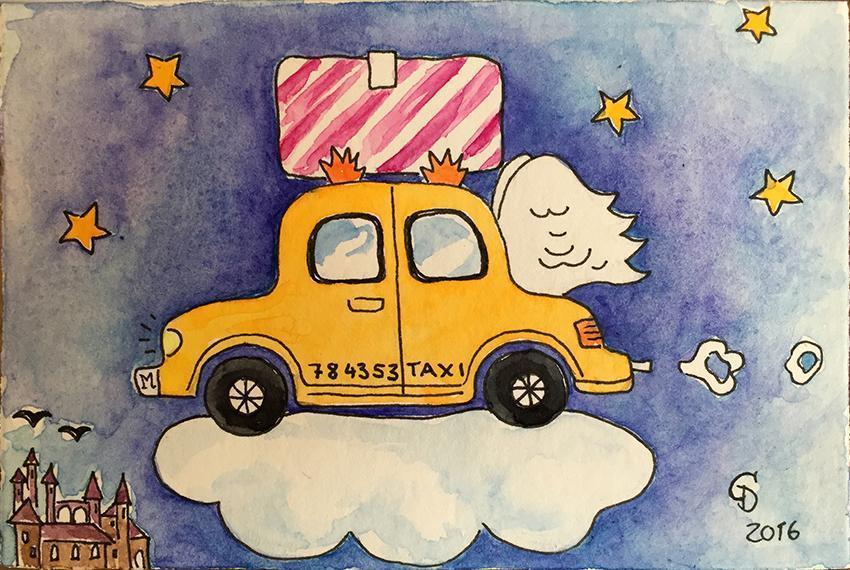 Illustration Taxi Hogwarts ClaudiaD
