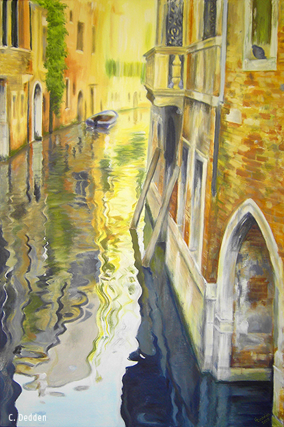 Kanal in Venedig, Acryl auf Leinwand