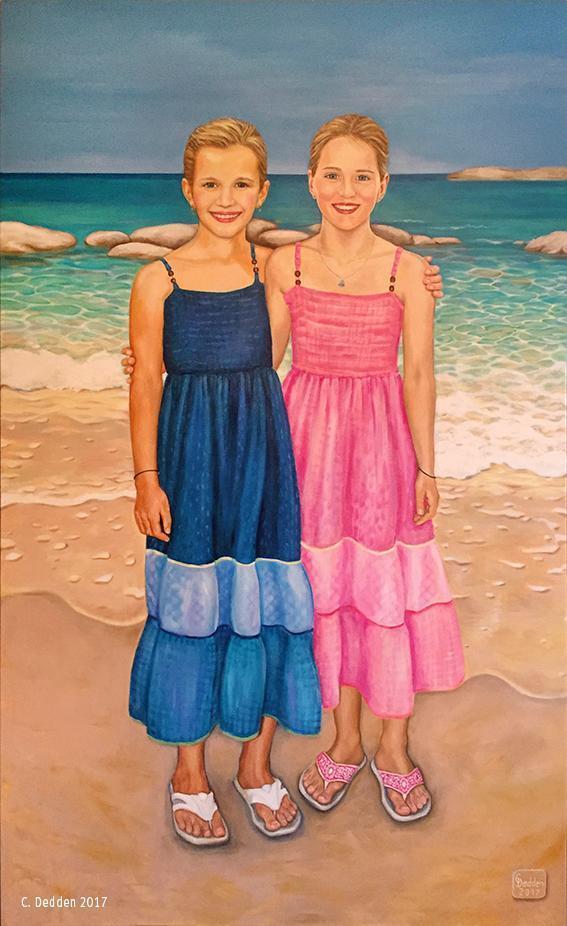 Zwei Mädchen, Portraitmalerei, Öl und Acryl auf Leinwand